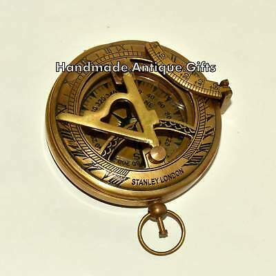 Brass Nautical Antique Vintage Pocket Push Button Royal Navy London Compass