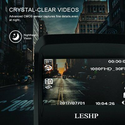"""LESHP Car Camera Driving Recorder Built-In WiFi 2.4"""" LCD 170 Degree View LensPG"""