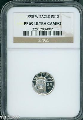 1998-W $10 PLATINUM EAGLE 1/10 Oz. STATUE of LIBERTY NGC PR69 PF69 PROOF