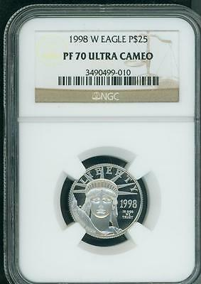 1998-W $25 PLATINUM STATUE LIBERTY 1/4 Oz. EAGLE  NGC PF70 PROOF PR70