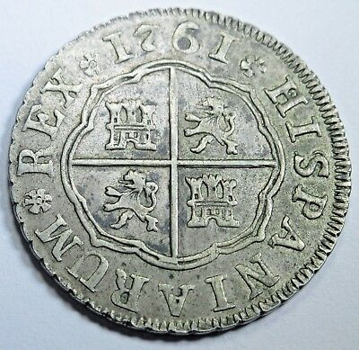 1761 XF-AU Spanish Silver 2 Reales Piece of 8 Real Colonial Two Bits Pirate Coin