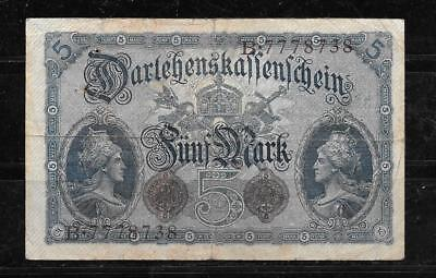 GERMANY #47b VG CIRCULATED OLD 1914 5 MARK  BANKNOTE PAPER MONEY CURRENCY NOTE