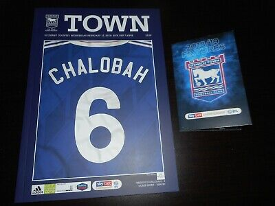 IPSWICH TOWN  v  DERBY COUNTY  2018/19  FEB 13 + ITFC FIXTURES LIST MINT UNREAD