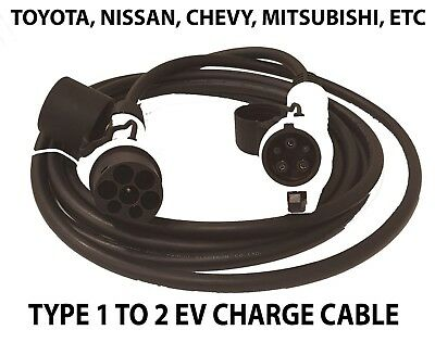 EV Charging Cables Type 1 to 2 32AMP 5 meters | EV / Electric Car Charger Cable