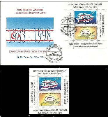 Turkish Northern Cyprus, 1998. 25 years of Republic. FDC and Miniature Sheet