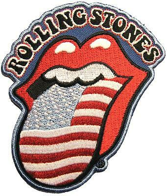 "ROLLING STONES AUFBÜGLER / EMBROIDERY PATCH # 26 ""USA TONGUE - AUFNÄHER - 10x8cm"