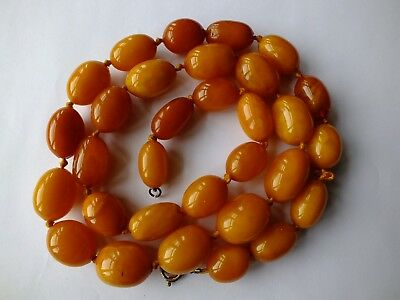 Rare Antique Baltic Amber Butterscotch Egg Yolk Necklace Fully Tested - 80G
