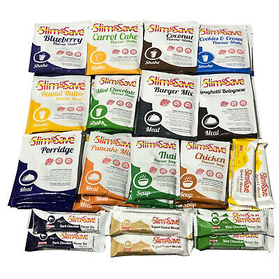 Slim & Save - 56 Mixed Diet Meals, Shakes, Soups & Bars+ 5 Free Chunky Choc Bars