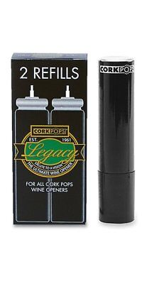 Cork Pops Refill Cartridges 2 Pack 1 Box Replacement Legacy Wine Bottle Opener..