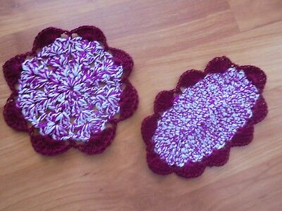 """Set of (2) Miniature Dollhouse Crochet Rugs Burgundy  4"""" x 6"""" and 5"""" Round NEW"""