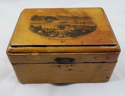 ANTIQUE MAUCHLINE WARE WOOD BOX TRINKET BOX OBAN BAY SOUND OF KERRERA c1860