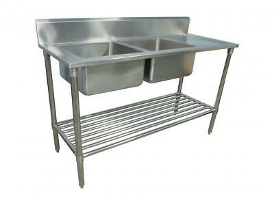600x1500mm NEW COMMERCIAL DOUBLE BOWL KITCHEN SINK #304 STAINLESS STEEL BENCH E0