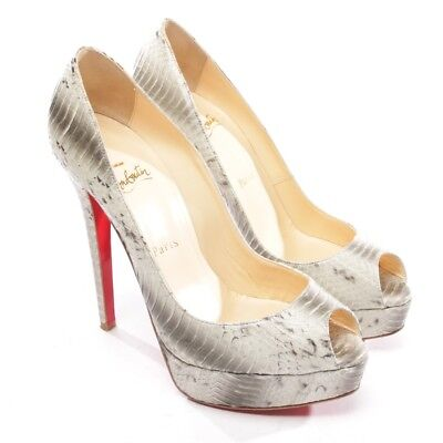 Christian Louboutin Bouts Ouverts Taille D 38,5 Gris Chaussures Femmes  Talons ad180e09ca8