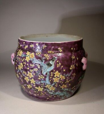 Vintage Chinese Large Cachepot Magpie & Flowers