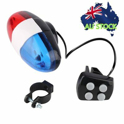 Bike Bicycle Cycling 4 Sounds LED Police Car Siren Electric Light Horn Bell T3