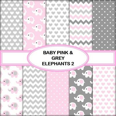 BABY PINK & GREY ELEPHANTS 2 SCRAPBOOK PAPER - 10 x A4 pages