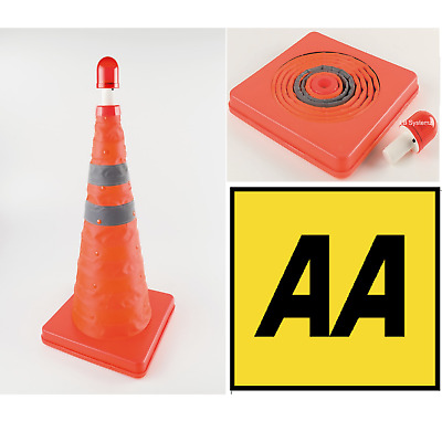 AA Pop Up Traffic Cone With Flashing Emergency Beacon Light