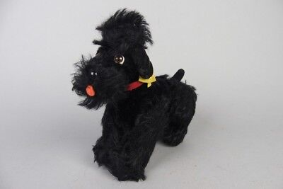 "vintage steiff black poodle , snobby ,  with button & flag 5 1/2""in. high"