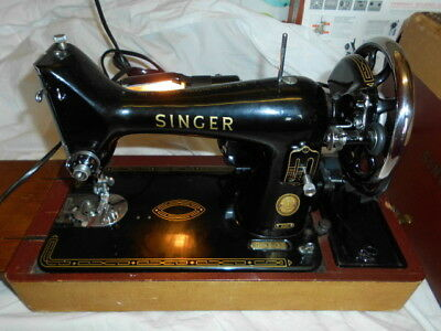 Vintage Singer Portable Sewing Machine 99K Original Leather Case and Manual