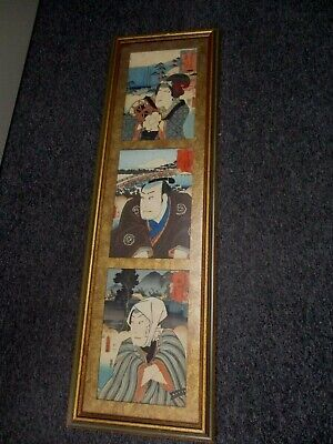 Antique Framed 3 Panel Japanese Woodblock Print