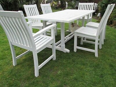 Solid Heavy Wooden Garden Table And 6 Chairs Furniture Set Painted Off White