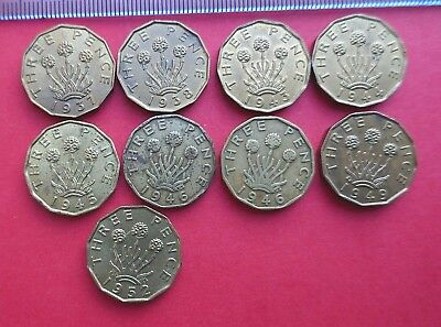 George VI Brass Threepence - 1937 to 1952 mostly Extra Fine - choose your date