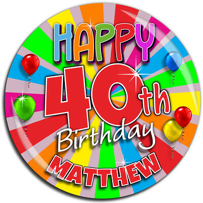 Personalised Rainbow Happy Birthday 75mm Badge N23 Any Age - Pin Magnet Mirror