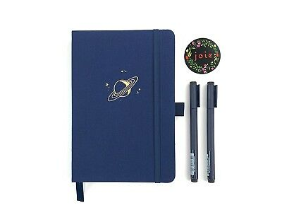 Saturn - Dot Grid Fabric Cover Notebook, 160 pages, 160 GSM paper