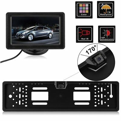 """Wireless EU License Plate Holder with 170° Car Rear View Camera + 4.3"""" MonitorSC"""