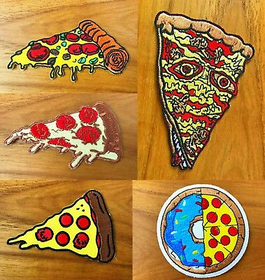 Pizza slice Italian food badge Logo biker Sew/Iron On Patch Embroidered Applique