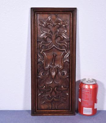 Antique French Gothic Revival Panel in Oak Wood with Monogram I