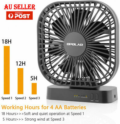 OPOLAR AA Battery Operated Desk Fan with Timer 3 Speeds Adjustable Head USB New