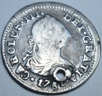 1781 PR Spanish Silver 1/2 Reales Piece of 8 Real Coin Colonial Pirate Treasure