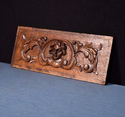 *French Antique Hand Carved Architectural Panel Solid Oak with Face