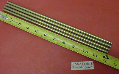 """4 Pieces 1/4"""" C360 BRASS SOLID ROUND ROD 12"""" long H02 Lathe Bar Stock .25"""""""