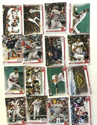 2019 Topps Boston Red Sox Hand Collated Team Set ( 16 Card Set )