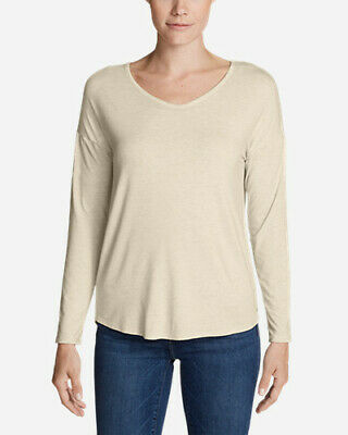 1fb596d1a4a7 Eddie Bauer Women's Celestial Long-Sleeve V-Neck T-Shirt - Solid