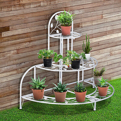 Outsunny 3 Tier Plant Stand Metal Leaf Butterfly Stair Step Flower Pot Holder