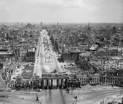 WWII Photo  Aerial View of Destroyed Berlin 1945  WW2 B&W World War Two / 2249