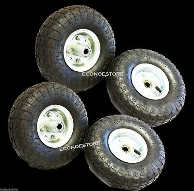 "Lot Of 4  10"" 300 LB Wheels Industrial Tires Dolly Tire Wheel  Air Tire HD"
