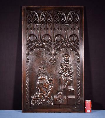 *Large French Antique Gothic Revival Panel/Plaque in Solid Oak Wood w/Jesus/Mary