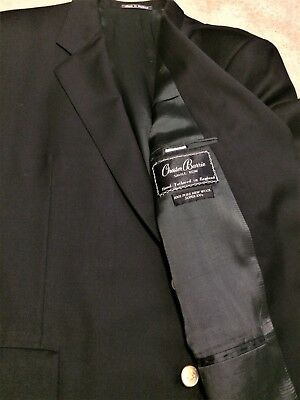 CHESTER BARRIE - 46 R - Solid Black 100% Wool Sport Coat Gold Buttons