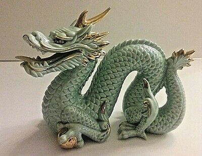 Oriental Chinese Porcelain Ceramic Dragon Statue Figurine, Home Decor