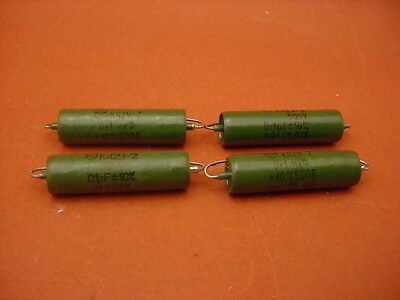 4 x 0.1 uF / 500 VOLT PIO  Axial CAPACITOR  Russian Military   NOS  Hermetic