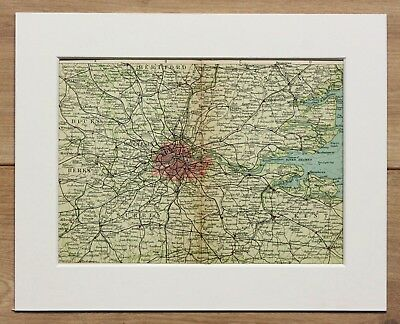 1907 Antique Map of South East England - Railway Lines - Mounted for Framing