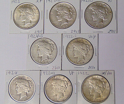Lot of 8 Peace Silver Dollars: 1922 1922-D 1922-S 1923 1923-D 1923-S 1924 1924-S