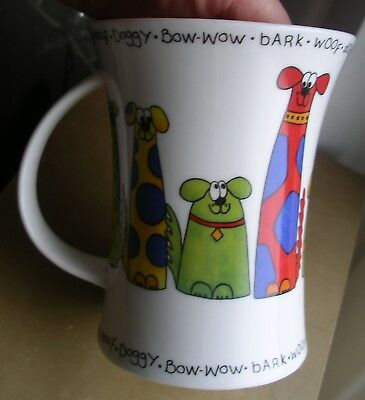 Dunoon Animal Crackers mug designer Sarah Mercer Woof Doggy Bow Wow bright dog