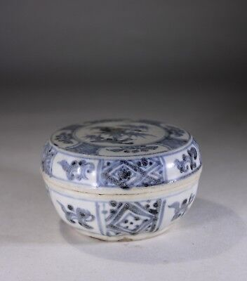 Antique Oriental Sawankhalok Si Satchanalai Siam Pottery Box & Cover