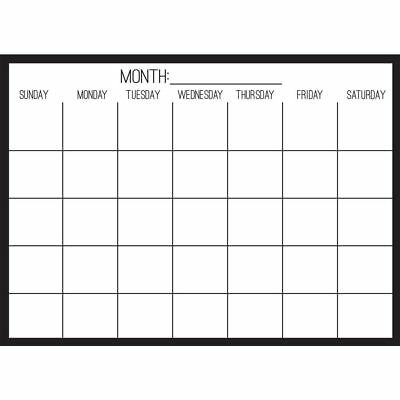 WallPops WPE2801 Black on Clear Monthly Calendar Wall Decal
