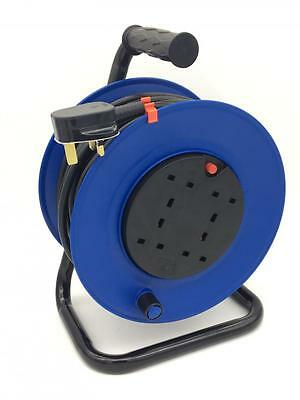 Laptronix 50M Meter Extension Reel Lead Cable 4 Way Electric Socket Heavy Duty